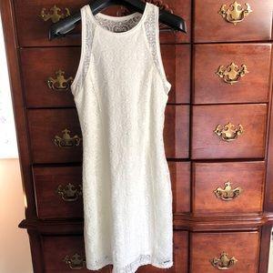 White Lace body con dress